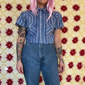 Vintage reworked cropped western plaid button up